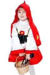 modern Little Red Riding Hood with gun