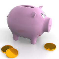 Ceramic piggy bank on the white background. Illustration.