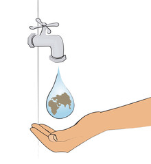 robinet goutte terre main