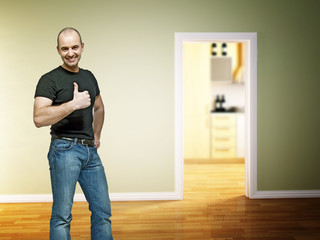positive man at home
