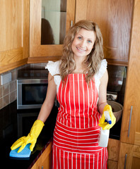 Cherful woman doing housework