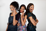 Affectionate sisters on the phone poster