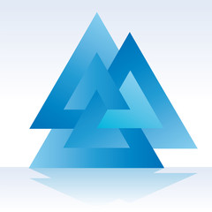 Triangle triple 3D vector illustration
