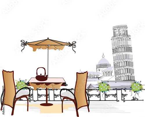 open-air cafe in Pisa