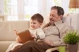 Grandfather reading tales to grandson poster