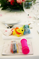 Child table setting at a fancy dinner