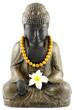 Bouddha, collier perles bois, fleur frangipanier, fond blanc