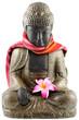 bouddha, étole tissu, fleur frangipanier, fond blanc