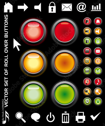 Roll over buttons on a black background