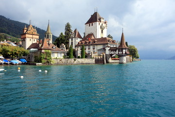 Oberhofen castle on Lake Thun of Jungfrau region in Switzerland