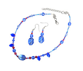 Blue and fuchsia crystals necklace and earrings