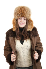 woman in sheepskin coat