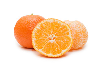 Fresh tangerines isolated on white background