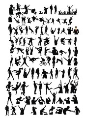 Set of active children vector silhouettes