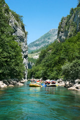 Green  water rafting on the rapids of River Neretva