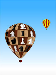 air balloon with chess figures