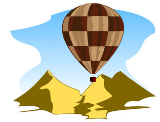 flying air balloon in blue sky
