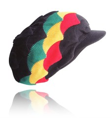 Black with Rasta Shells Peak Hat