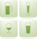 Olivine Square 2D Icons Set: Alcohol glass poster