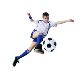Fototapety Boy with soccer ball, Footballer. (isolated)