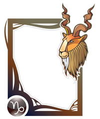 Capricorn, the tenth sign of the zodiac frames, vector