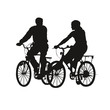 Silhouette couple vélo