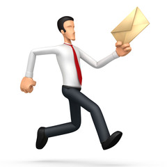 Businessman runs with a letter