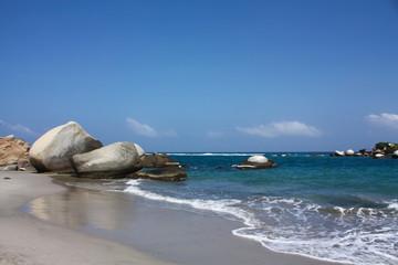 Caribbean beach with tropical forest. Tayrona National Park. Col