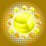 Yellow voleyballs and haftone