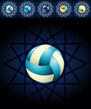 Blue voleyballs and backgrounds