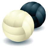 Black and white voleyballs