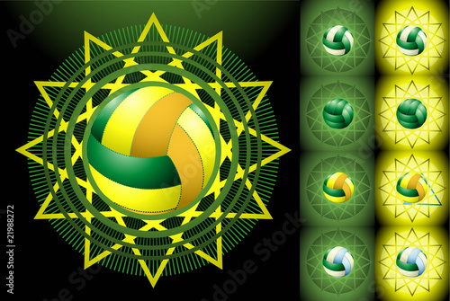 Green voleyballs and backgrounds