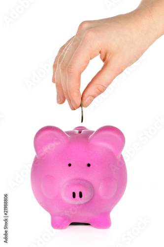 Hand putting coin in piggy bank