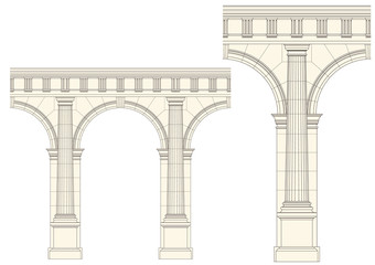 set of architecture detail , vector classic column