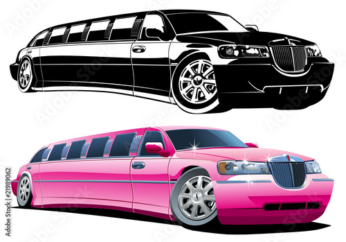Vector cartoon limousine