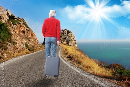 Adult man travelling for holidays