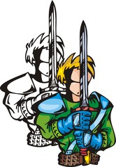 Armoured warrior with sword. Anime fighters.