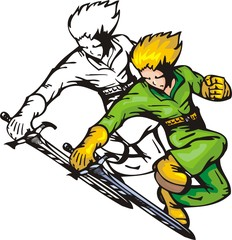 Jumping warrior in green coverall. Anime fighters.