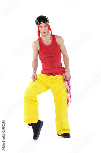 Male dancer on a white background