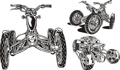 In drawing three quadbikes are represented. ATV Riders.