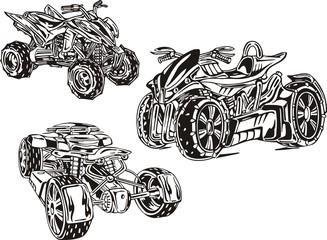 Three powerful quadbikes. ATV Riders.