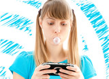 young girl playing video game poster