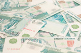 Close-up of russian roubles poster
