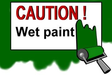 Caution - wet paint warning sign