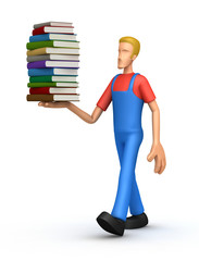 Mechanic with a stack of books