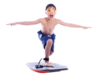 boy riding on the surfboard
