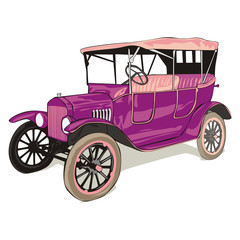 vector isolated old funny colored car with details