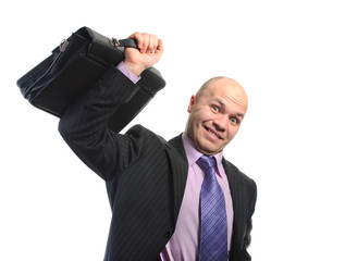 Businessman lifts a case
