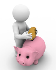 Character and piggy bank