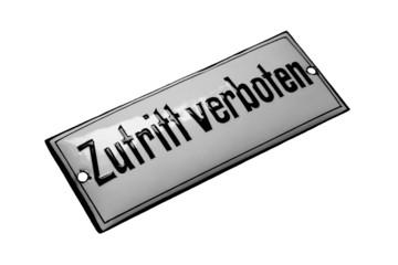 """Altes Emailschild """"Zutritt verboten"""" um 1910"""